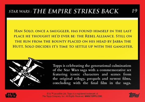 Han Solo _ Star Wars Galactic Moments Countdown to Episode 9 _ Week 7 Card 19 Back