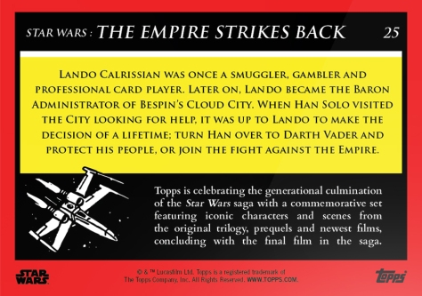 Lando Calrissian _ Star Wars Galactic Moments Countdown to Episode 9 _ Week 9 Card 25 Back