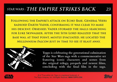 Storming Echo Base _ Star Wars Galactic Moments Countdown to Episode 9 _ Week 8 Card 23 Back.