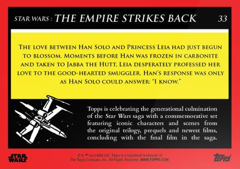 'I Know' _ Star Wars Galactic Moments Countdown to Episode 9 _ Week 11 Card 33 Back