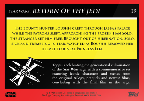 Setting Han Free _ Star Wars Galactic Moments Countdown to Episode 9 _ Week 13 Card 39 Back