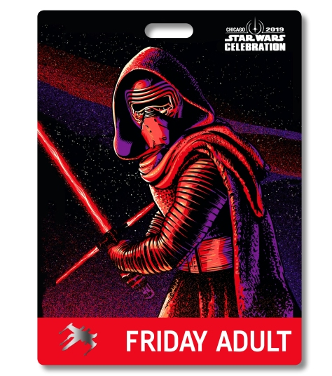 Star Wars Celebration 2019 Chicago Friday Adult Kylo Ren Badge Pass Art