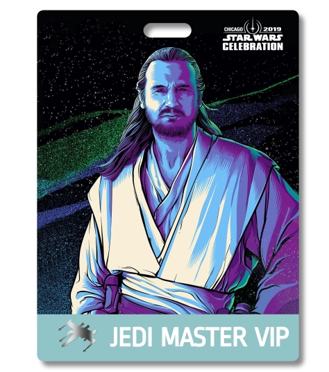 Star Wars Celebration 2019 Chicago Jedi Master VIP Qui-Gon Jinn Badge Pass Art