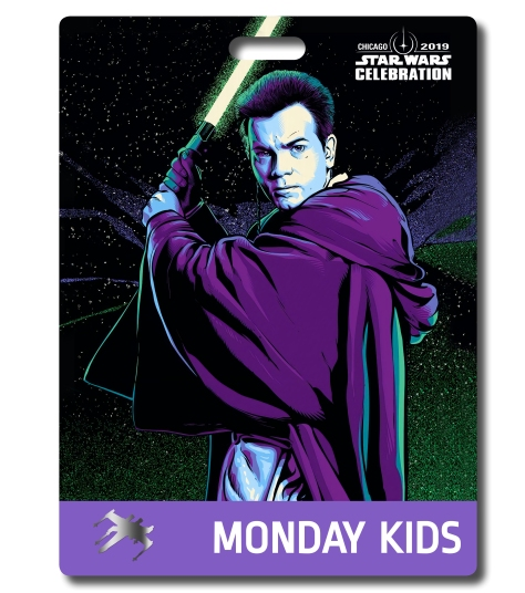 Star Wars Celebration 2019 Chicago Monday Kids Obi Wan Kenobi Badge Pass Art