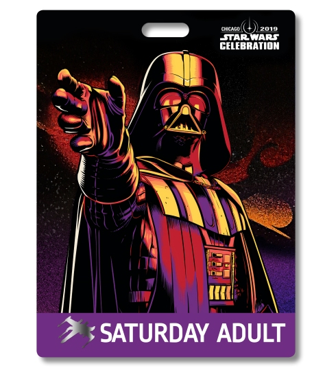 Star Wars Celebration 2019 Chicago Saturday Adult Darth Vader Badge Pass Art