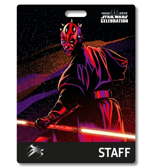 Star Wars Celebration 2019 Chicago Staff Darth Maul Badge Pass Art
