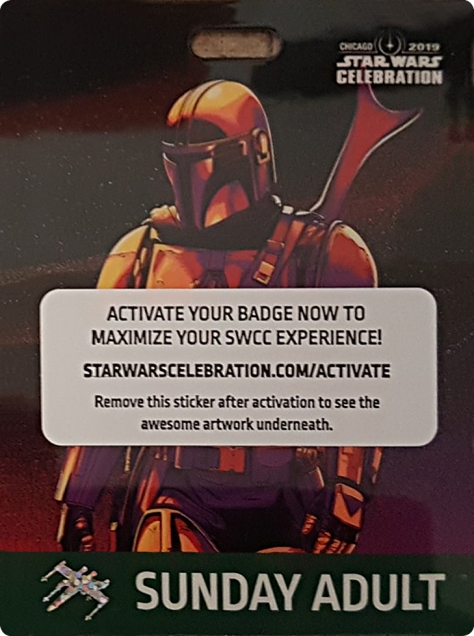 Star Wars Celebration 2019 Chicago Sunday Adult Mandalorian Badge Pass Art