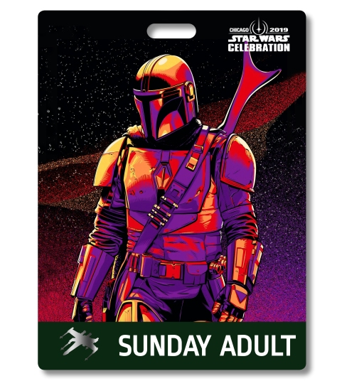 Star Wars Celebration 2019 Chicago Sunday Adult The Mandalorian Badge Pass Art