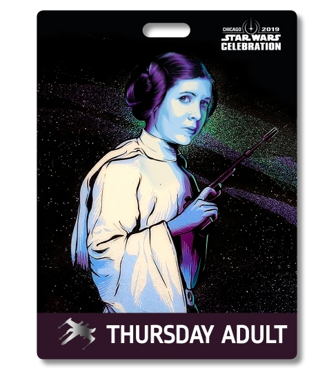 Star Wars Celebration 2019 Chicago Thursday Adult Princess Leia Badge Pass Art