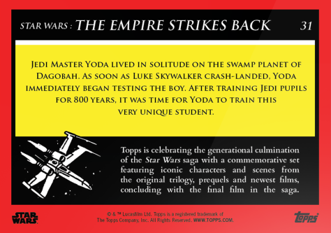Yoda _ Star Wars Galactic Moments Countdown to Episode 9 _ Week 11 Card 31 Back