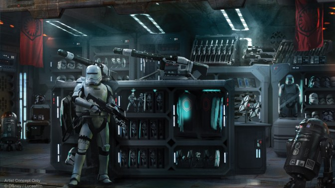 First Order Cargo and Resistance Supply Shops Concept Art for Star Wars: Galaxy's Edge