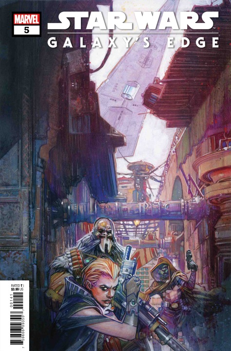 Star Wars Galaxy's Edge Issue 5 Marvel Clean Cover Art by Tommy Lee Edwards MlnersBlog Edit