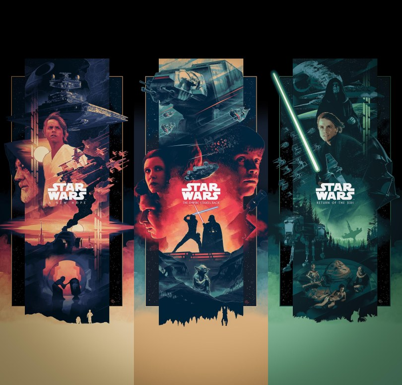 The Star Wars Saga Triptych Art By John Guydo