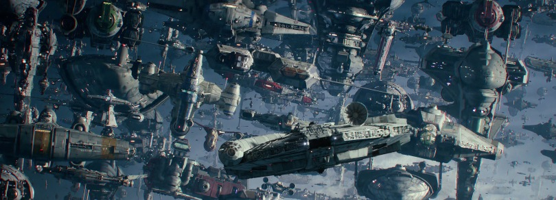 The Resistance Space Armada and The Millennium Falcon - Star Wars - The Rise of Skywalker