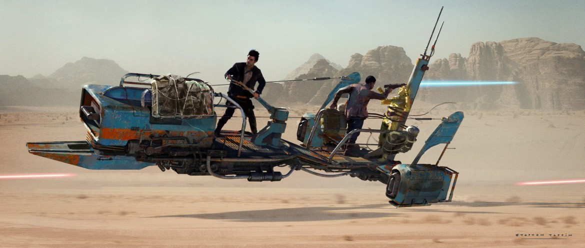 Star Wars The Rise of Skywalker Speeder Chase Concept Art by Stephen Tappin